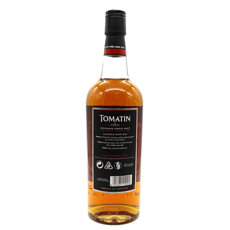 Tomatin 18 ans scotch whisky verso